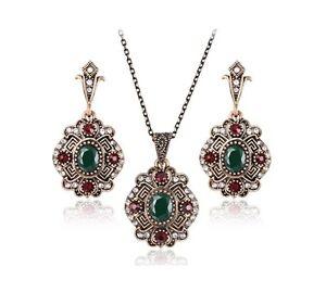 Women's fashion ethnic style vintage antique jewllery necklace & earring set