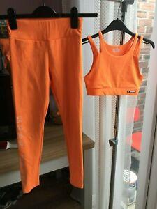 ZARA sport age 9-10 leggings & 11-12 bra crop top orange dance wear (see desc.)