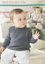 Sirdar 1310 Knitting Pattern Baby Sweaters in Sirdar Snuggly DK