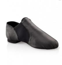 SLIP ON JAZZ DANCE SHOES Black Leather split irish ballet leotard sole UNISEX 03