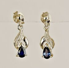 NATURAL SAPPHIRE EARRINGS GENUINE DIAMONDS 9K WHITE GOLD DROPS GIFT BOXED NEW