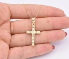 Reversible Cross Textured Diamond Cut Pendant Necklace Real 10K Yellow Gold