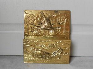 Vintage French brass repousse LETTER HOLDER rack