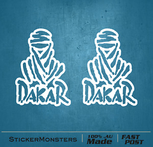 2X DAKAR Outline Sticker 140mmH Decal Rally Car Off Road 4X4 Pajero Bike Truck