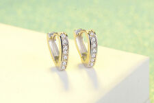 Shiny 925 Sterling Silver PL Triangle Cubic Zirconia Huggie Hoop Circle Earrings