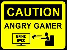 Caution Angry Gamer, Metal Aluminium Sign Xbox Playstaion Kids Bedroom Gift