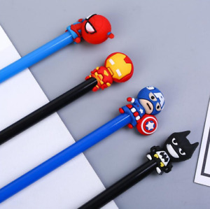 Cute Children Kids 4pcs Cartoon Marvel Superhero Black Gel Ink Pen Sets Gift