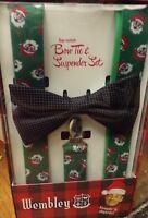 NEW WEMBLEY Mens Christmas Santa Claus & Polka Dot Bow Tie & Suspender Set