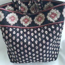 Vera Bradley Classic Black Womens Pocketbook Medium Red Paisley Button Tote