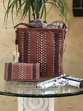 Montana West AMERICAN BLING Concealed Carry Cross Body Bag and Wallet Set Brown