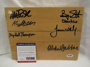 Lakers Showtime Multi Autographed Floor Board (Johnson, Jabbar, Worthy)-PSA Cert