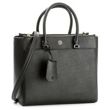 TORY BURCH Robinson Double Zip Top Black Saffiano Leather Tote NWT