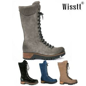 Women's Knee High Buckle Boots Chunky Mid Heel Lace Up Punk Riding Combat Shoes