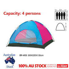 4 Person Family Camping Tent Pop Up  UV Shelter Canopy Hiking Beach