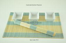 6 Bamboo Placemats Handmade Table Mats, Aqua Blue -Cream (Light Brown) P011