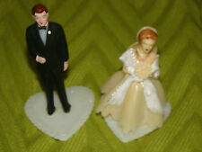Vintage MID-CENTURY BRIDE & GROOM MINIATURE CAKE TOPPERS w/SHAWL~HEART BASES