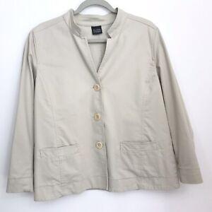 Eileen Fisher LP Jacket Blazer Stretch Cotton Button Front Pockets