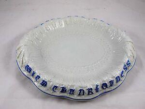 ENGLISH CERAMIC BLUE & WHITE BREAD PLATE C 1880'S