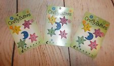 VINTAGE wooden Buttons LOT! 3 cards (15 Buttons) Celestial Crafty Productions