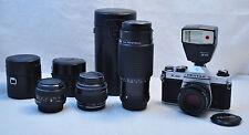 Asahi Pentax K1000 SLR 35mm Film Camera w 3 Lenses Flash & Macro Teleconverter