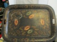 """""""Vintage"""" Regency Flower Decorated English Tray Circa Early19th Century"""