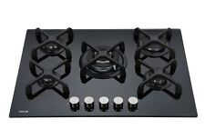 MILLAR GH7051KB 5 Burner Built-in Gas on Glass Hob 70cm - Cast Iron Stands & Wok