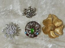 Rhinestone Brooches 1 signed  BSK 3 unsigned Lot of four Vintage