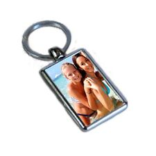 Personalised Photo Added, Oblong Metal Double Sided Keyring