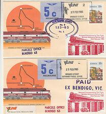 Stamp Australia Tarcoola PSE pair 1985 Bendigo Parcel special cachet overprint