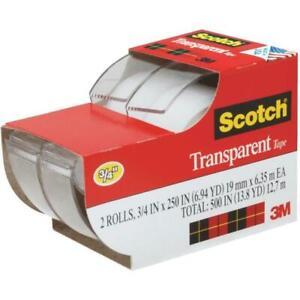 "Scotch Transparent Tape 3/4"" x 250"", 2 Rolls (2157SS)"