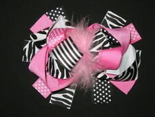"""NEW """"BLACK PINK ZEBRA"""" Fur Hairbow Alligator Clips Girls Ribbon Bows 5.5 Inches"""