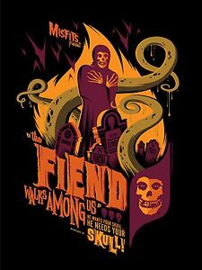 "MISFITS ""The Fiend Walks Among Us"" LTD VARIANT ED Screen Print Poster-TOM WHALEN"