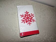 Snowflake Guest Napkins Single Snowflake White and Red Trim 20 Pack 3 PLY