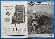 LIBRETTO Note Fotografiche AGFA N. 3 SETT. 1932