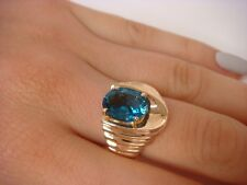 14K SOLID YELLOW GOLD GENUINE BLUE TOPAZ LADIES RING, 9.2 GRAMS, SIZE 6.5