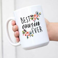 Cousin Gifts White Wine or Coffee Stainless Steel Tumbler Mug w Lid Unique Mug