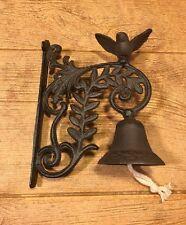 """Wall Mounted Bird Bell Cast Iron 9 1/2"""" tall by 7"""" deep Garden Decor 0184S-0101"""