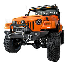 Rock Crawler HD Front Bumper+Winch Plate+2x LED Light for 97-06 Jeep Wrangler TJ