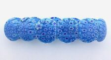RICH BLUE FLORAL FLOWER MILLEFIORI GLASS STRETCH BRACELET mb6