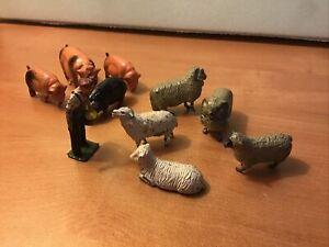 Vintage Britains Hollow Diecast Lead Farm Animal Figures Ten (10) Piece Lot