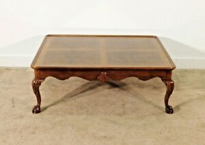 HENREDON Figured Mahogany SALEM Ball & Claw Shell Carved Cocktail Coffee Table