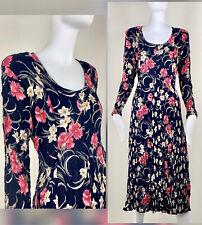 STARINA Vintage Floral Pleated Crinkle Rayon MIDI Dress Sz M EXCELLENT