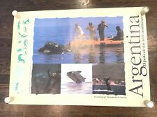 ARGENTINA 1990's Vintage Travel poster 24x33 Whale watching