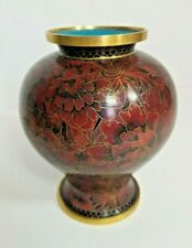 Vintage Chinese Dark Red Brass Floral gold Cloisonné Small Vase 6.5� Tall