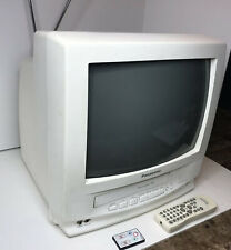 """Panasonic 14"""" CRT Color TV VCR Combo W Remotes Retro Gaming TV Tested (PVQ-130W)"""