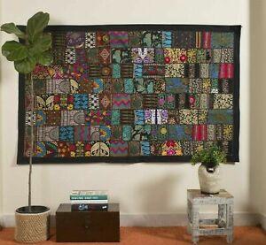 Indien 60 40 inch Cotton Black Patchwork Vintage Boho Home Decor Wall Hanging