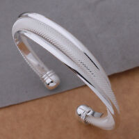 925 Sterling Silver Bevel Edge Mesh Womens Bracelet Bangle Free Gift Bag