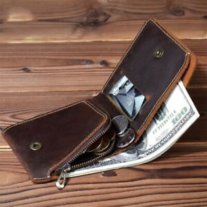 Genuine Leather Men Wallet Coin Pocket With ZipperShort Purse Vintage Handmade