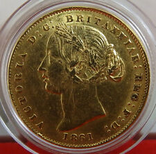 Australia Full gold sovereign  1861 Sydney Mint  Victoria Young Head  Rare !!!