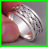 HANDMADE BRAIDED WOVEN ARTISAN SNAKE 925 STERLING SOLID SILVER MENS SPIN RING B3